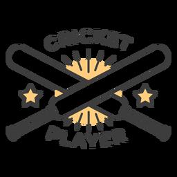 Cricketspieler-Schlägerstern färbte Abzeichenaufkleber