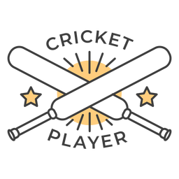 Pegatina en forma de estrella de bate de jugador de cricket