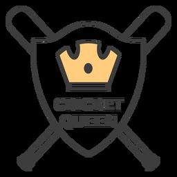 Adesivo de crachá colorido de coroa de morcego de rainha de cricket