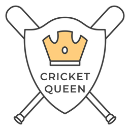 Cricket queen bat crown colored badge sticker