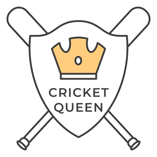 Cricket queen bat crown colored badge sticker Transparent PNG