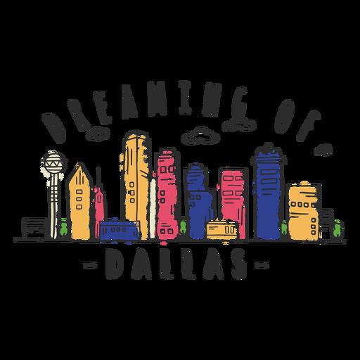 Autocolante de skyline de Dallas Transparent PNG