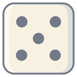 Dice five dot edge flat