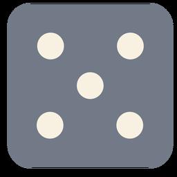 Dados silueta de borde de cinco puntos