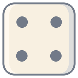 Dice four dot edge flat