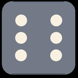 Dados silueta de borde de seis puntos