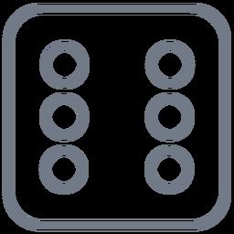 Dados seis trazo de borde de puntos
