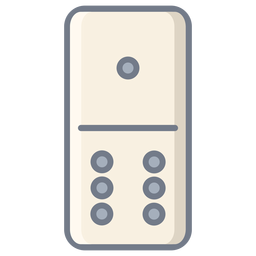 Domino uno seis dados plana