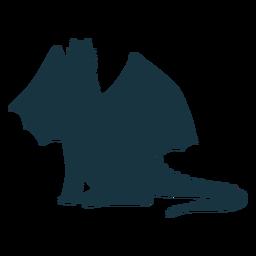 Asa de cauda de dragão voando silhueta de escalas