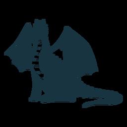 Ala de dragón escalas cola volando silueta detallada