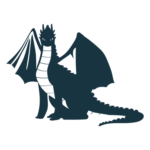 Dragon wing scales tail flying detailed silhouette Transparent PNG