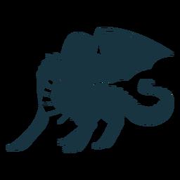 Dragão asa cauda voando escalas silhueta detalhada