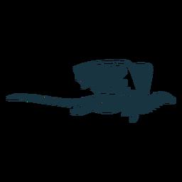 Escalas de cauda de asa de dragão voando silhueta detalhada
