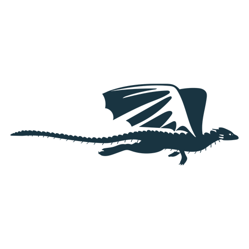 Dragon wing tail scales flying detailed silhouette Transparent PNG