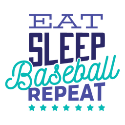 Eat sleep baseball repeat star badge sticker