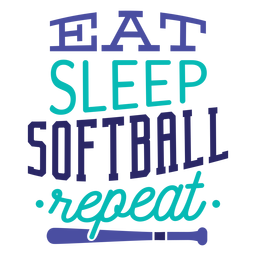 Eat sleep softball repeat star badge sticker