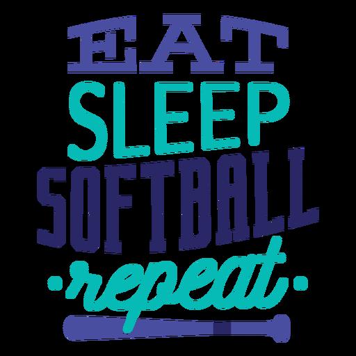 Eat sleep softball repeat star badge sticker