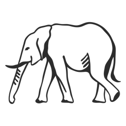 Elefante marfil oreja tronco cola plana doodle