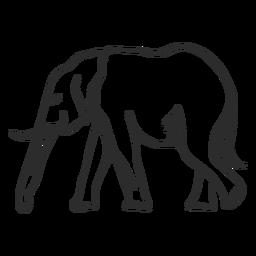 Flaches Gekritzel des Elefantenelfenbeinohrstamm-Endstücks