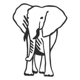 Elefante marfil tronco oreja plana doodle