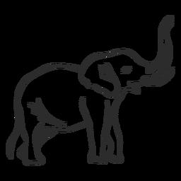 Rabisco de elefante marfim rabo de orelha plana doodle