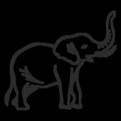 Elephant ivory trunk ear tail flat doodle