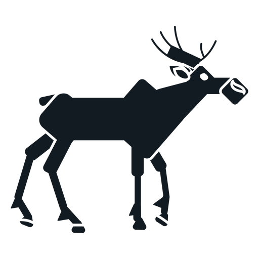 Elk moose muzzle hoof antler detailed silhouette Transparent PNG