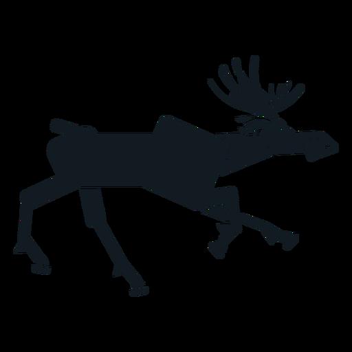 Elk moose running muzzle hoof antler detailed silhouette Transparent PNG