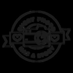 Cada foto tiene un trazo de insignia de corazón de objetivo de lente de cámara de historia