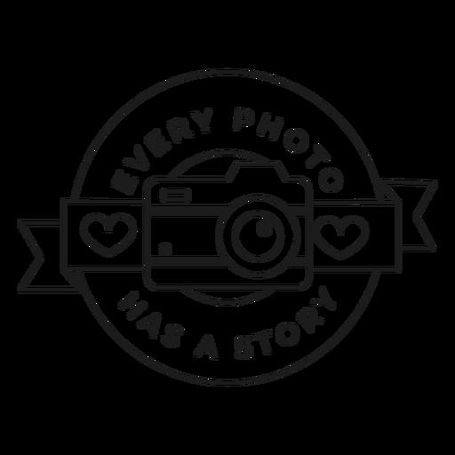 Cada foto tiene un trazo de insignia de coraz?n de objetivo de lente de c?mara de historia