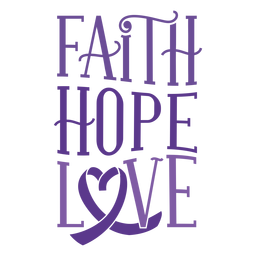 Faith hope love heart ribbon badge sticker