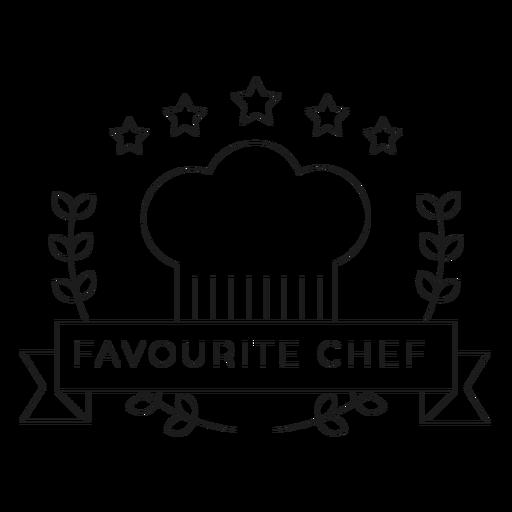 Chef favorito rama estrella gorra insignia línea Transparent PNG