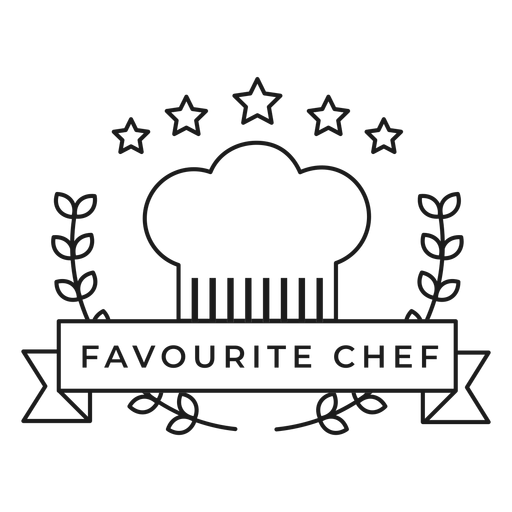 Favourite chef branch star cap badge stroke Transparent PNG