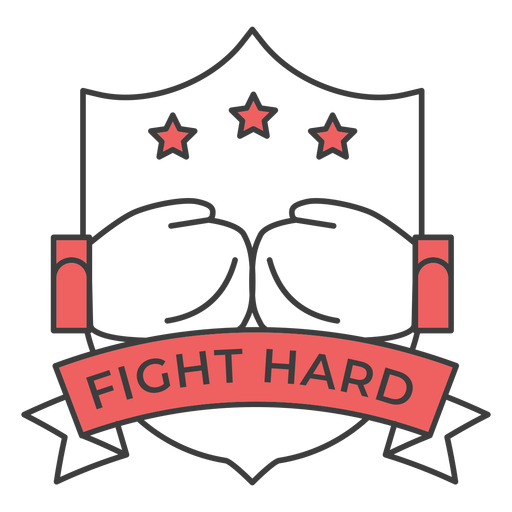 Fight hard glove boxing glove star colored badge sticker Transparent PNG