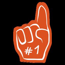 Etiqueta engomada de la insignia del gesto número uno de la mano del dedo