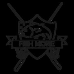 Fischen Sie mehr Fischabzeichenlinie