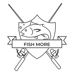 Peixe mais peixe vara girando distintivo traço