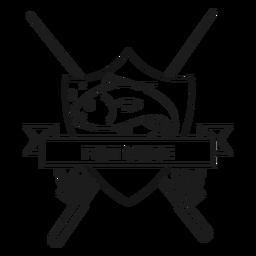 Pez más pescado varilla spinning insignia de trazo