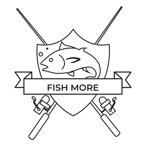 Fish more fish rod spinning badge stroke Transparent PNG