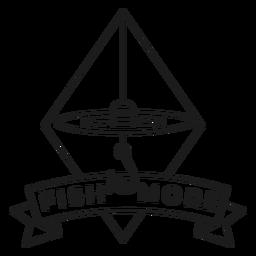 Peixe mais gancho rhomb mar linha flutuante crachá acidente vascular cerebral