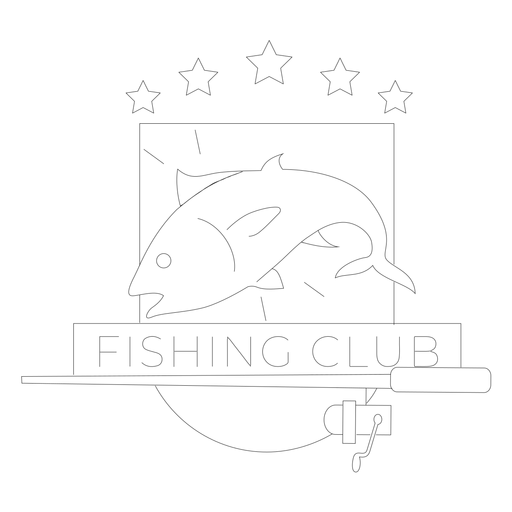 Fishing club fish rod spinning star badge line Transparent PNG
