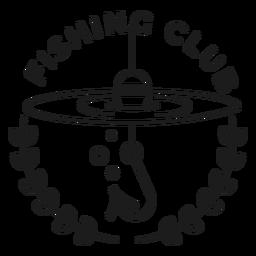 Pesca, peixe, peixe, vara, girar, estrela, emblema, acidente vascular cerebral