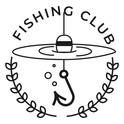 Fishing club fish rod spinning star badge stroke Transparent PNG