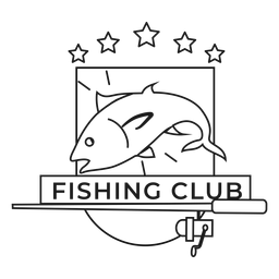 Club de pesca varilla de pescado estrella hilado giro insignia insignia