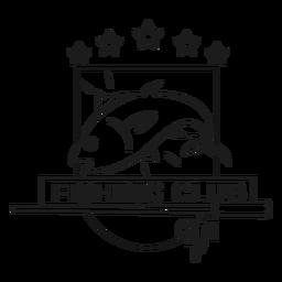 Estrela de peixe de pesca clube estrela girando distintivo traço