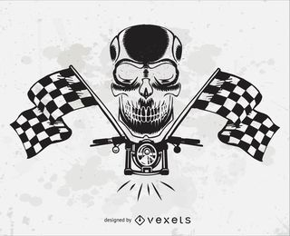 Vector de cabeza de cráneo de motocicleta