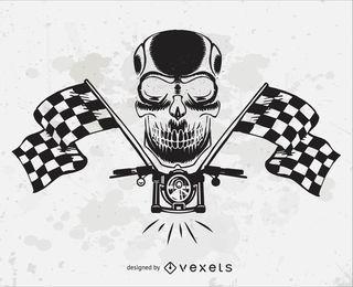Vetor de cabeça de caveira de motocicleta