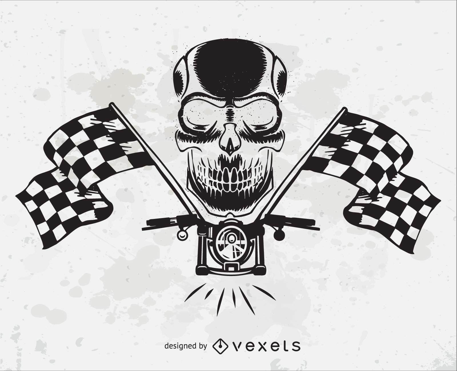 Motorcycle Skull Head Vector