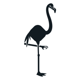 Flamingo bico perna cauda silhueta detalhada