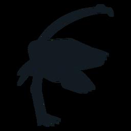 Flamingo bico cauda asa perna silhueta detalhada